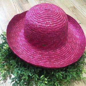 Scala Wide Brimmed Pink Straw Hat